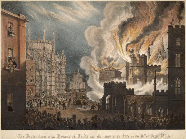 The Houses of Parliament destroyed by fire