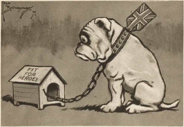 "A bulldog looks in dismay at a kennel which is quite obviously too small for him, a satirical comment on the homes ""fit for heroes"" promise following World War I"