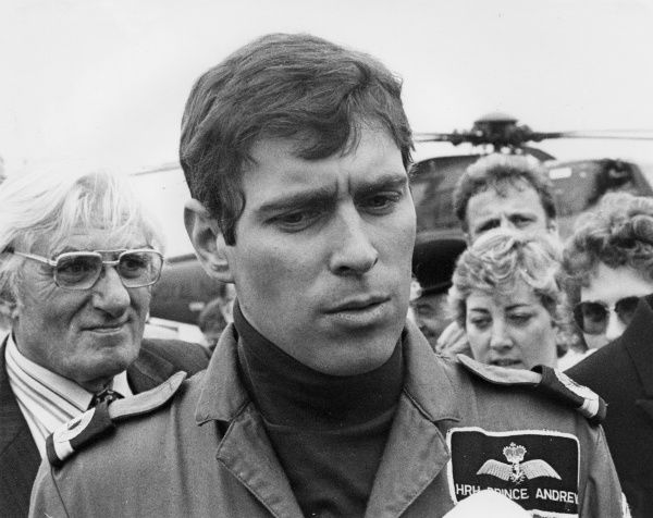 HRH Prince Andrew - being interviewed during his helicopter flight raining at RNAS Culrose, near Helston on the Lizard Peninsula, Cornwall
