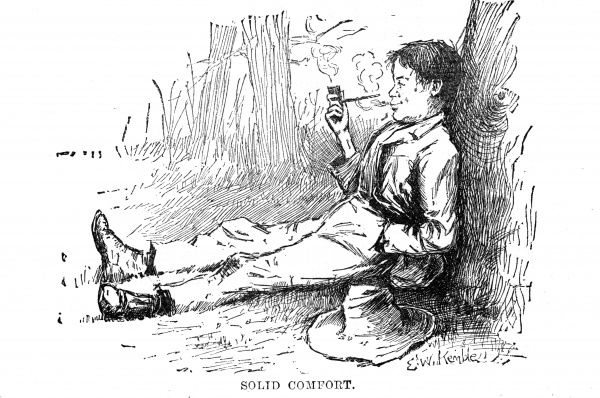 Huckleberry leans against a tree, smoking a pipe. Date: First published: 1884