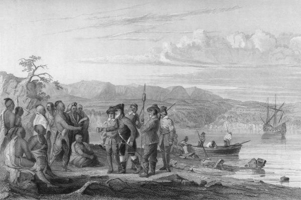Henry Hudson encounters Native American Indians (Mohicans)