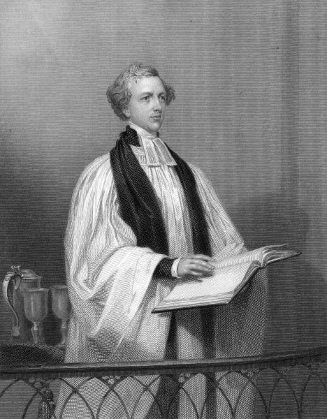 HUGH MCNEILE Churchman, dean of Ripon, depicted reading from a big book... Date: 1795 - 1879