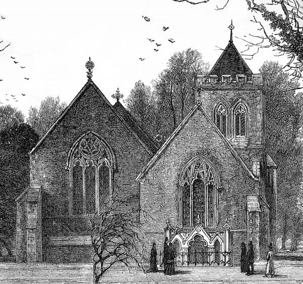 Engraving of Hughenden Church, near High Wycombe, in 1881. It was here that Benjamin Disraeli, the English Statesman and novelist was buried