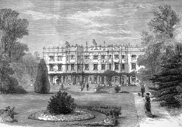 Engraving showing Hughenden Manor, High Wycombe; the home of Benjamin Disraeli (1804-1881), 1st Earl of Beaconsfield