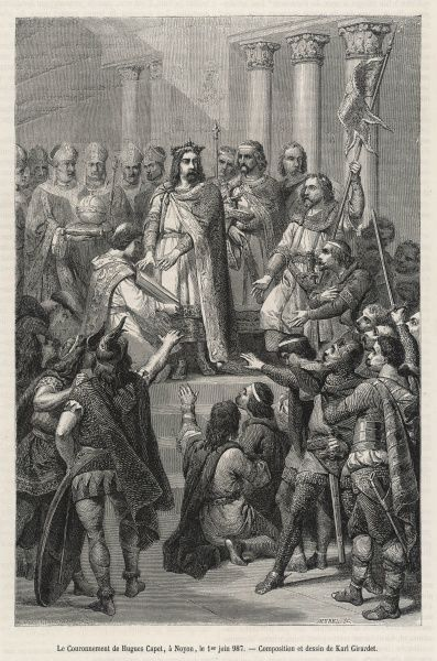 Hugues Capet is elected and crowned king of France : but he will rule only a small territory in the Ile-de- France, and even that he will have to defend against rivals