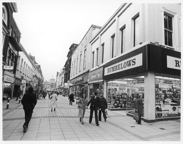 A typical late 20th century pedestrian shopping area. This one is in Hull, Yorkshire, England, on the corner of Parliament Street