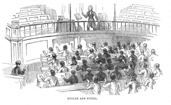 John Pyke Hullah (1812 -1884), English composer and teacher of music, with his pupils at the second great choral meeting at Exeter Hall in 1842. Hullah here is employing the Wilhelm musical system of manual signs. Date: 1842