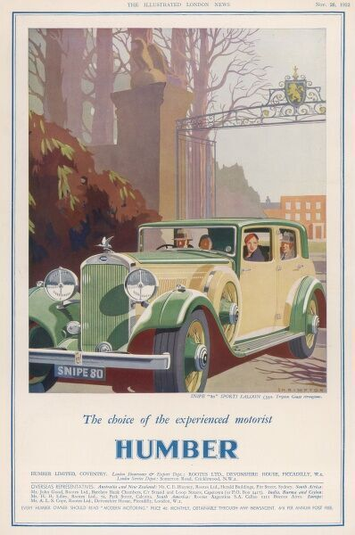 Advertisement for the Humber Snipe 80 motorcar, showing the car leaving through the gates of a smart residence possibly a stately home