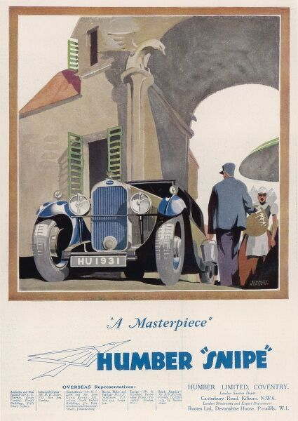 The Humber Snipe draws the attention of a Breton peasant as it drives through a French town. It's that kind of car