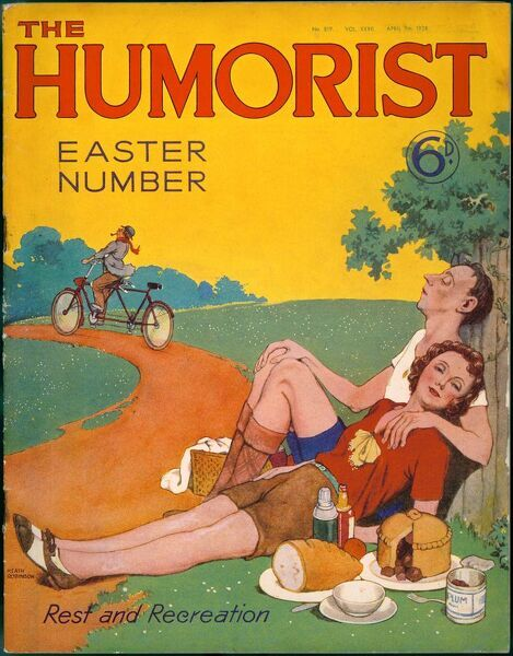 The Humorist Easter Number front cover illustrated by William Heath Robinson featuring two exhausted cyclists sleeping off a picnic lunch, unaware that somebody is riding away on their tandem bicycle