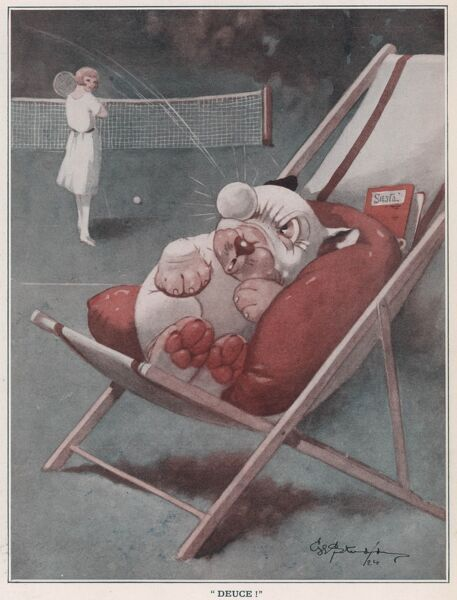 Humorous Illustration showing Bonzo being disturbed by a flying tennis ball. George Ernest Studdy (1878-1948), was the creator of 'Bonzo', a small dog with saucer-like eyes and indiscriminate breeding who first appeared in the Sketch in 1922