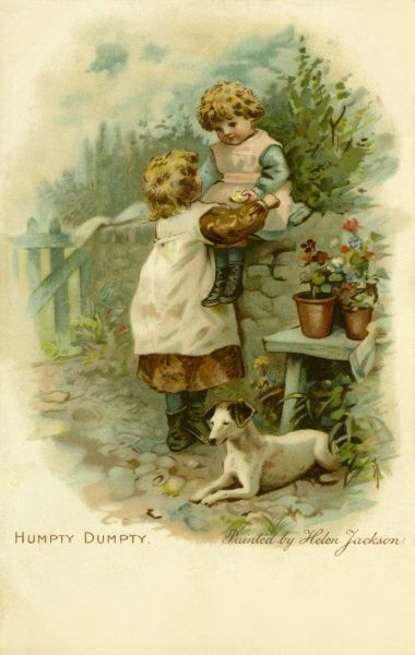 Humpty Dumpty by Helen Jackson. Genre image of little girl sitting on a wall with her elder sister in attendance Date: circa 1900