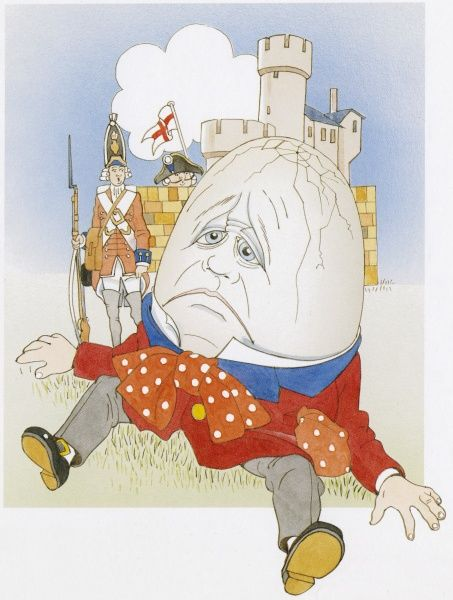 Humpty Dumpty looking unhappy after his fall, with cracks all over his head. A soldier in the background looks on helplessly