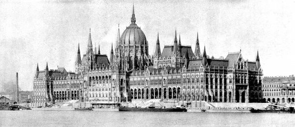 Photograph showing the then-newly built Hungarian Houses of Parliament, Budapest, 1902. This view shows the building with the Danube River in the foreground