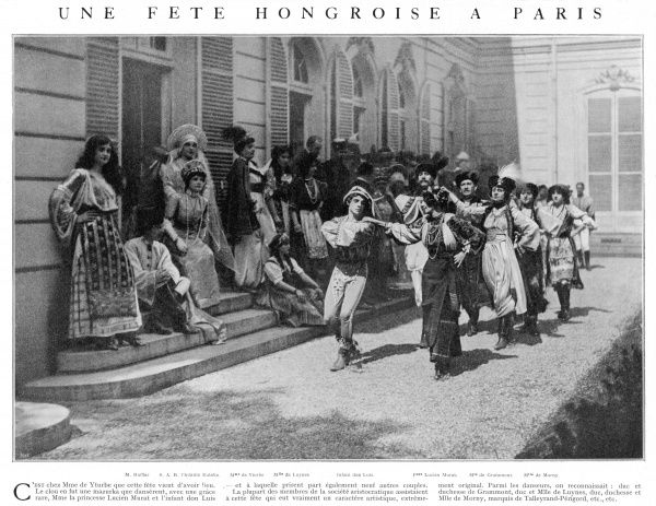 Many members of the aristocratic society attended this Hungarian fete in Paris, a very creative and original event. Among the dancers were the Duke and Duchess of Grammont, the Duke, Duchess and Miss of Luynes, Duke, Duchess and Miss de Morny