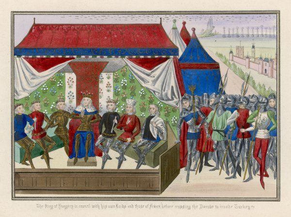 Threatened with attack by the Turks, King Sigismund helds a conference at Buda with the French and other allies