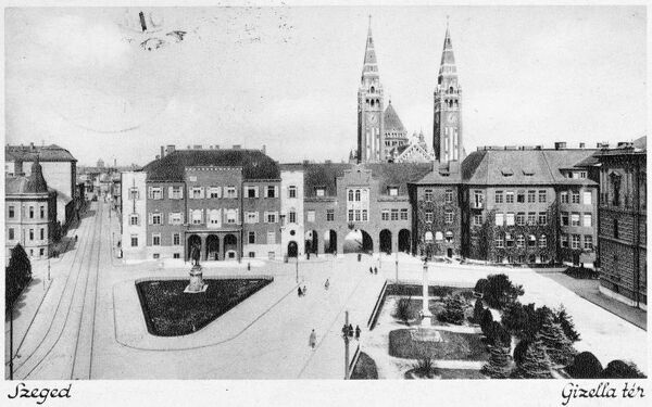 Hungary - Szeged. In the background is The Votive Church of Our Lady of Hungary, completed in 1930