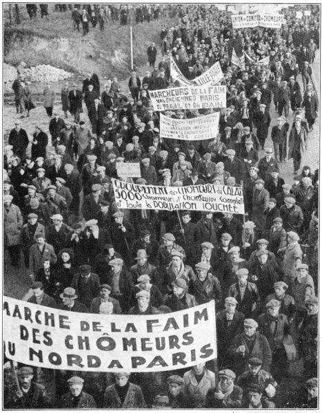 Marche de la Faim (hunger march) in Paris, of out-of- work miners of northern France
