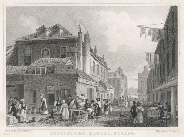 Hungerford Market, near Charing Cross - Street traders and their customers outside the dairy of Thomas Olley, cowkeeper, while washing hangs from the windows above