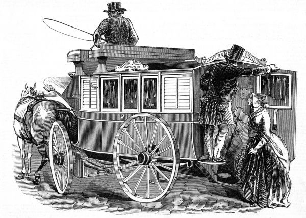 Engraving showing the new patent street carriage. It had a low construction which afforded easy access, so that passengers could alight from the road to the floor of the carriage without the aid of a step
