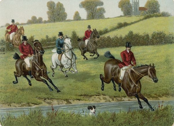 Foxhunters jump a stream, a solitary hound swims it