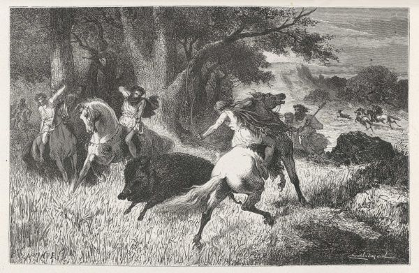 Hunting boar during the Bronze Age