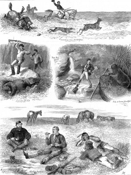 Engraving showing four views of European men hunting and fishing in Manitoba, Canada, 1877