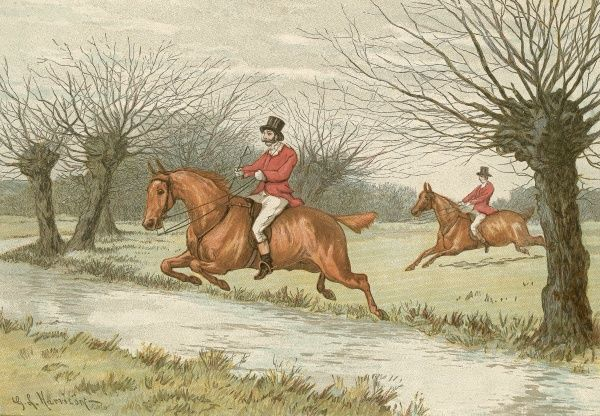 Colour illustration by G. L. Harrison from a supplement to the ILN showing riders wearing the traditional red riding jackets clearing a hedge while hunting