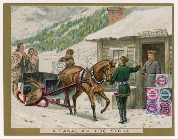 A Canadian log store on a Huntley & Palmers biscuit card