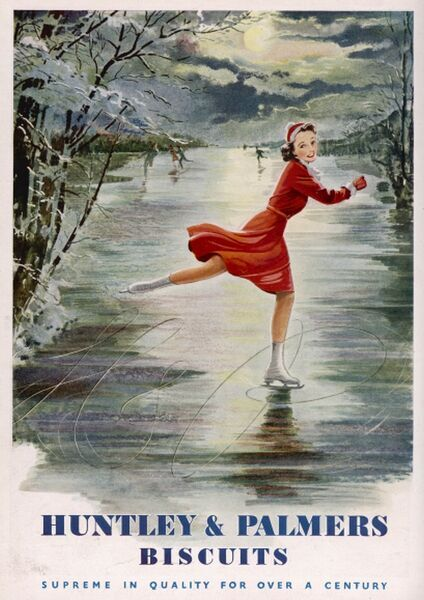 Advert for Huntley and Palmers showing a young woman skating on a picturesque frozen river or lake, wearing a festive, red skating outfit