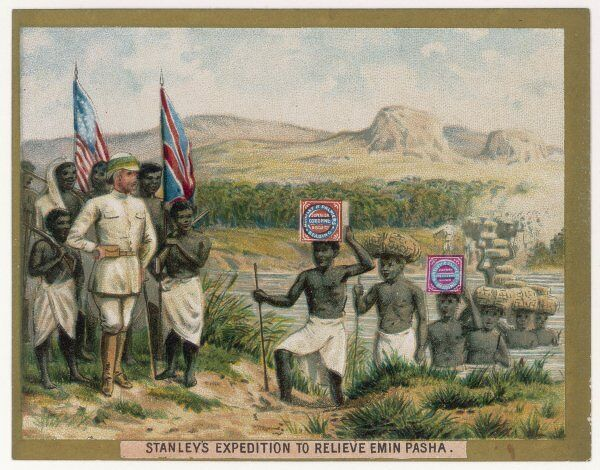 Stanley's expedition to relieve Emin Pasha, on a Huntley & Palmers biscuit card