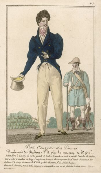 Cossacks, waistcoat with pointed front, blue d-b coat: gigot sleeves, cut-away in a curve, short tails; tartan stockings & cravat, black pumps. French hunting attire