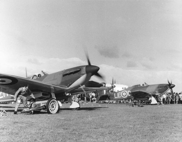 A Spitfire and a Hurricane, World War Two aeroplanes, at an air show
