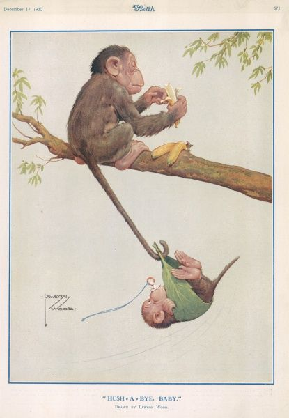 A colour illustration by artist Lawson Wood showing a monkey using her tail to rock her baby to sleep