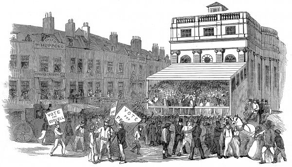 Engraving showing the Hustings outside Southwark Town Hall, during the General Election of 1852