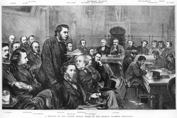 A meeting of the London School Board in the Council Chamber, Guildhall, London -- Professor Huxley addresses his colleagues