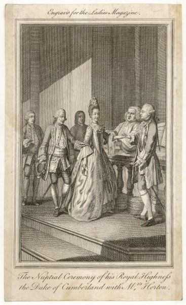 The clandestine marriage of HENRY FREDERICK, duke of CUMBERLAND and brother of George III, with Ann, widow of Andrew Horton, in Mayfair, London. George disapproved