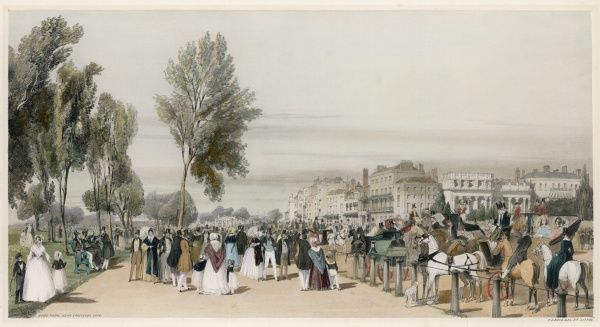 Fashionable strollers, riders and carriage folk in Hyde Park, looking toward Hyde Park Corner, close to where the Crystal Palace will arise in nine years' time