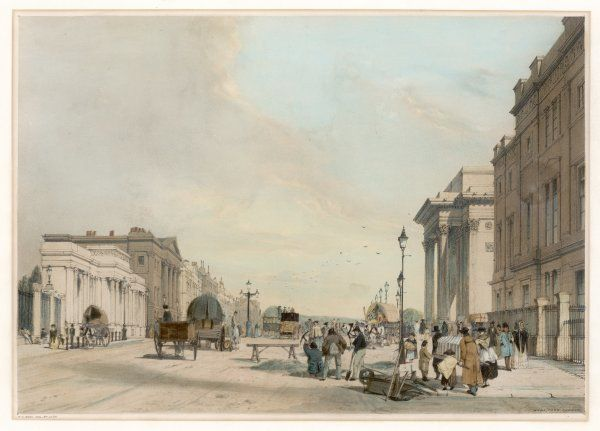 A lively depiction of Hyde Park Corner in early Victorian days - when Wellington was living at Apsley House, left, when traffic was lighter but road works prevalent as ever