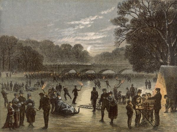 Ice skaters of all ages enjoy themselves in Hyde Park, London