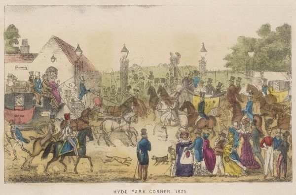 A very busy scene at Hyde Park Corner - horse carriages, pedestrians and horse riders  1825