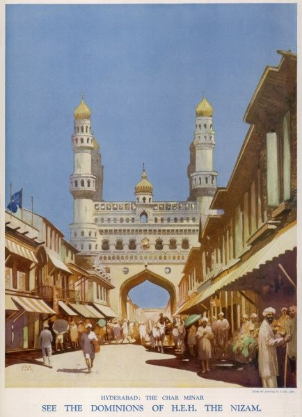 Illustration depicting a street market in Hyderabad, India with the Char Minar and its four minarets, measuring 160 feet, dominating the scene