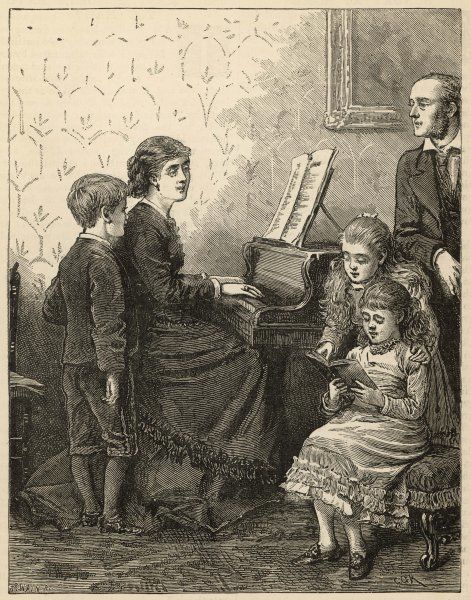 Mama accompanies her children and their father in hymn- singing at the piano