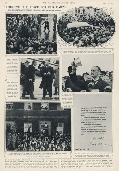 Extract from the Illustrated London News, October 8th 1938, celebrating Chamberlain's triumphant return to England following the Munich Agreement, claimed to have secured peace between Britain and Germany. Pictures from top right as follows: 1)Mr