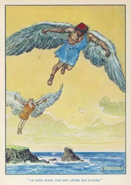 Daedalus encouraged his son Icarus to fly from the island of Crete to the sun. But the sun melted the wax with which his wings were fastened on and Icarus fell into the sea