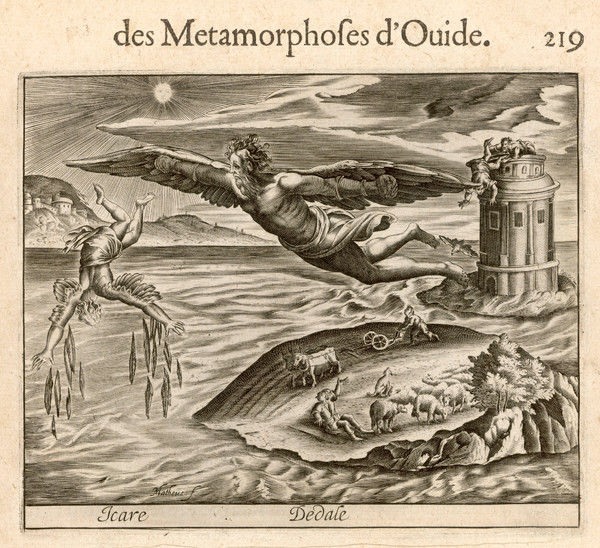 Daedalus and his son Icarus escape from Crete with man- made wings, but Icarus flies too near the sun : the heat melts the wax on his wings, plunging him into the sea