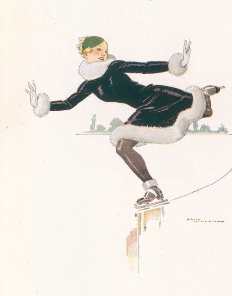 Illustration showing a lady skating on ice