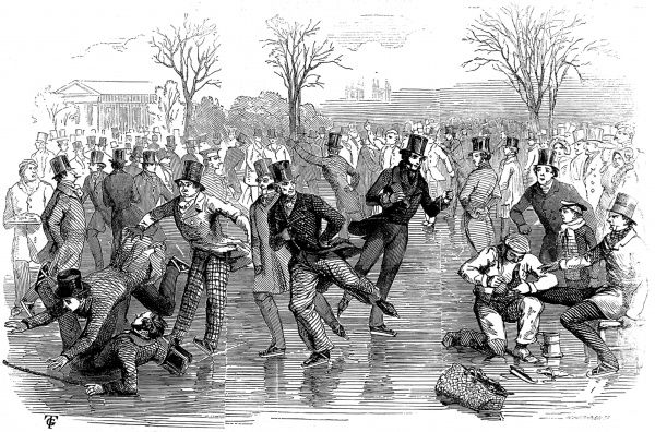 Engraving showing a large group of Victorian gentlemen ice skating on a pond in London, during the winter of 1846-7