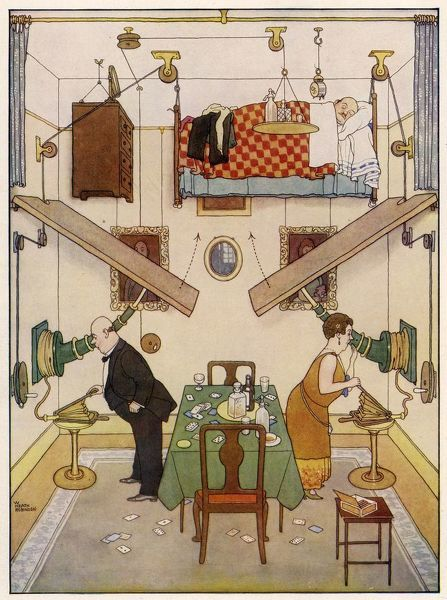 This is W. Heath Robinson's solution of the spare room problem, a brilliant idea which renders it possible to entertain in the smallest flat without the slightest difficulty. The fifth in the series of the Ideal Home designs by W. Heath Robinson