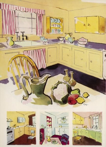 A variety of suggestions for transforming a 1950s kitchen with 'gay and unusual' colour schemes